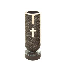 Memory Bronze Vase With Cross (COM-BV7)