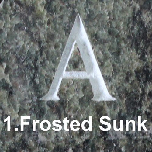 Frosted Sunk Letter Lettering Style